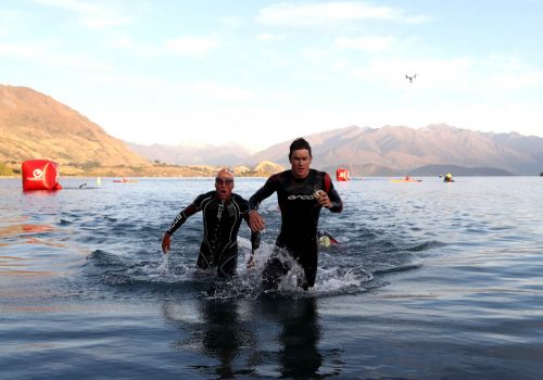 Mike Phillips of New Zealand leaves the water in the 2017 Challenge Wanaka