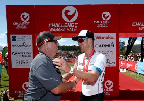 Dougal Allan of New Zealand is congratulated after winning the 2017 Challenge Wanaka
