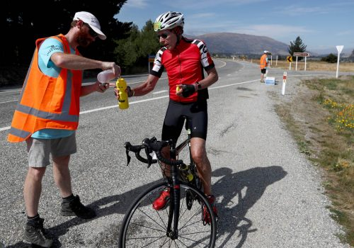 Volunteers assist athletes in the 2017 Challenge Wanaka