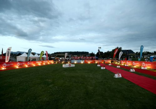 The red carpet finish line in the 2017 Challenge Wanaka