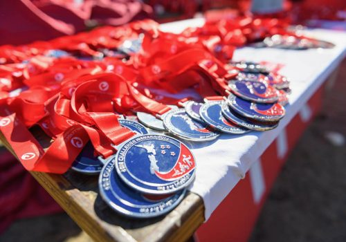 Finisher medals are seen during 2018 Challenge Wanaka